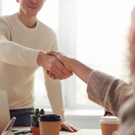 Woman and man handshake